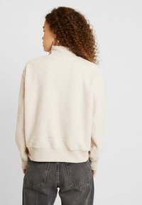 Topshop Petite - CURLY ZIP UP FUNNEL - Sweater - stone - 2