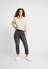 Topshop Petite - CURLY ZIP UP FUNNEL - Sweater - stone - 1