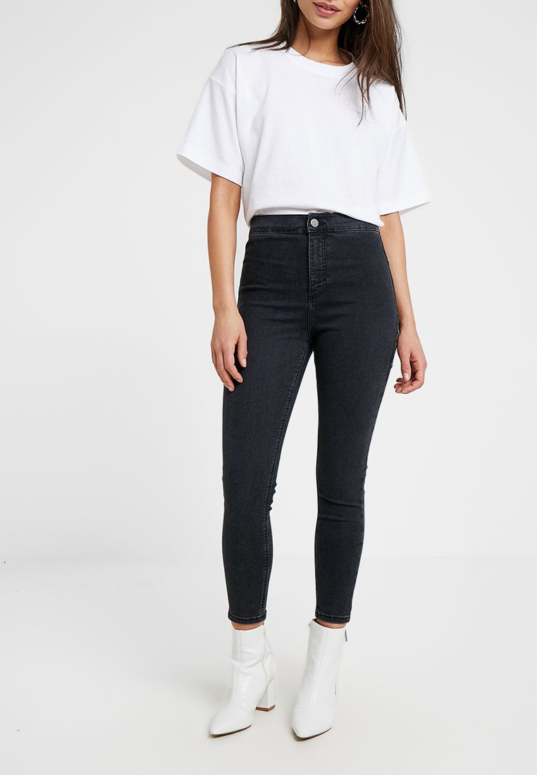 Topshop Petite - NEW WASH JONI - Jeans Skinny Fit - black denim