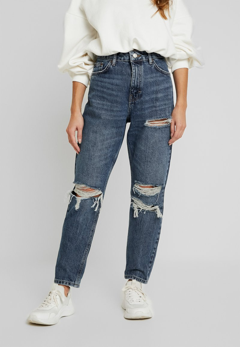 Topshop Petite - TOKYO MOM - Jeans Relaxed Fit - blue denim