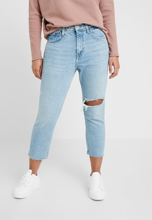 THIGH RIP - Džíny Straight Fit - bleached denim