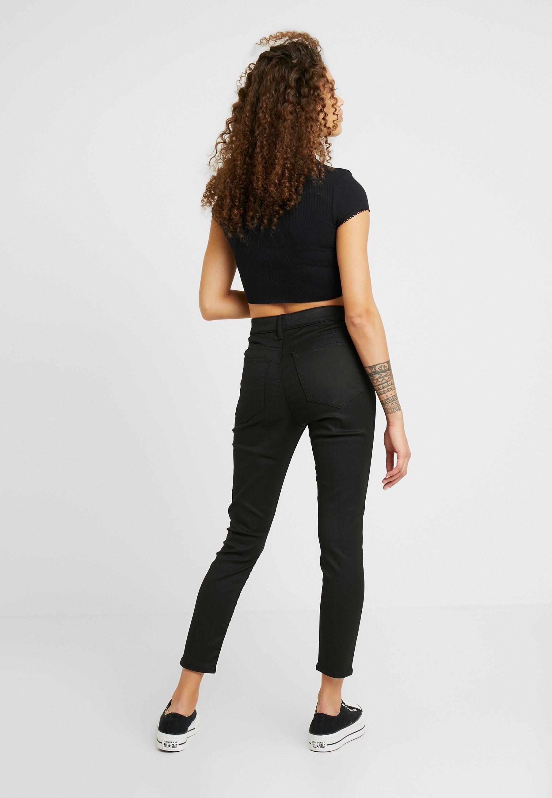 Topshop Petite COATED CLEAN JAMIE - Jeansy Skinny Fit - black