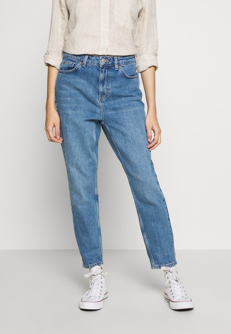 Topshop Petite - MOM CLEAN  - Jeansy Relaxed Fit - blue denim