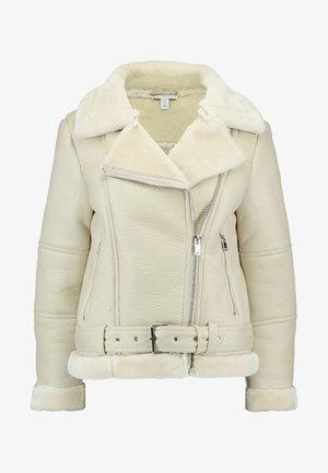 CORA BIKER - Faux leather jacket - ecru