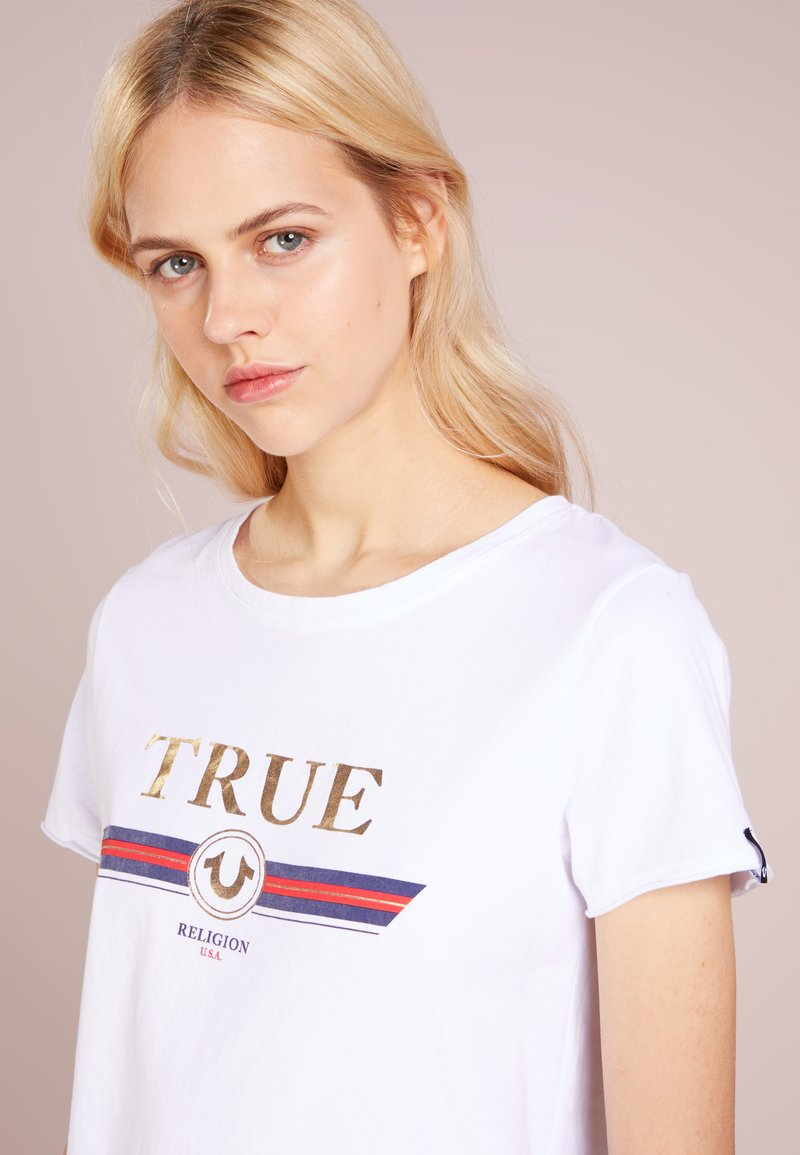 True Religion - CREW NECK BOXY - Print T-shirt - white