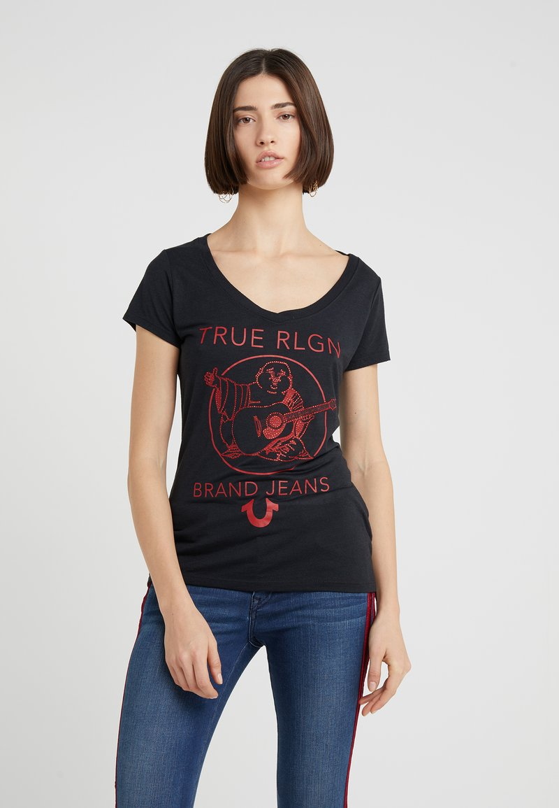 True Religion - ROUNDED BUDDHA BLACK - T-shirt con stampa - black