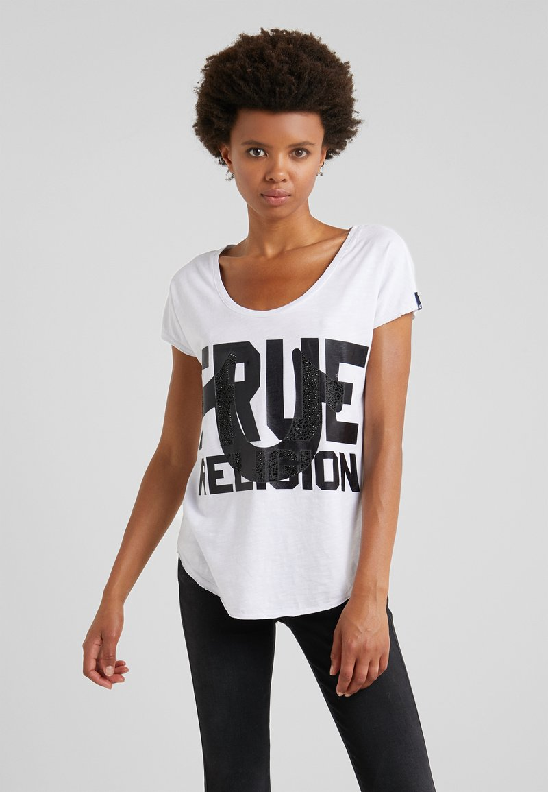 True Religion - CREW  - T-shirts print - white