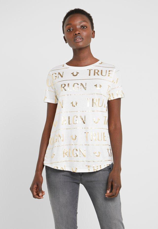 CREW ALLOVER FOIL - Print T-shirt - milky