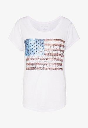 CREWNECK TSHIRT RELAX AMERICAN - Print T-shirt - white flag