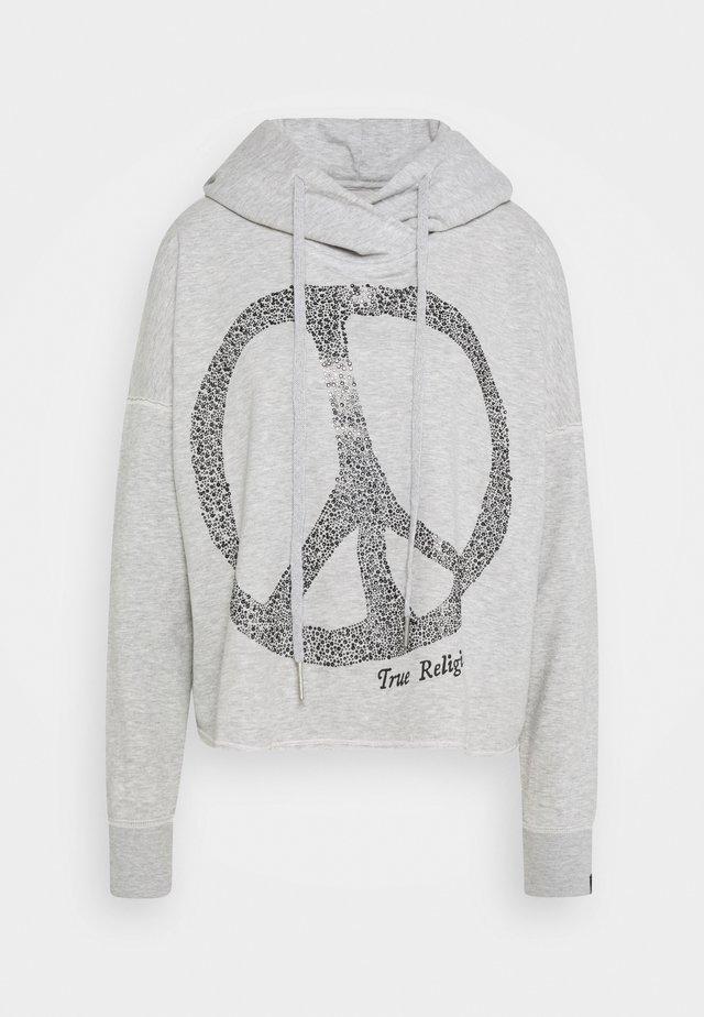HOODY CROP PEACE RHINESTONES - Bluza z kapturem - grey