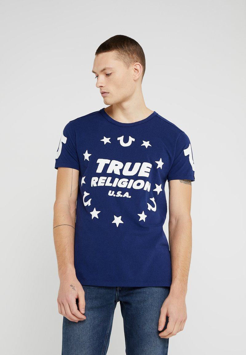 True Religion - CREW STARS - T-Shirt print - solid navy