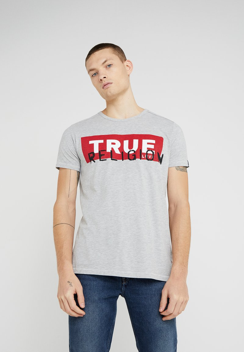 True Religion - CREW BLOCK - Print T-shirt - grey