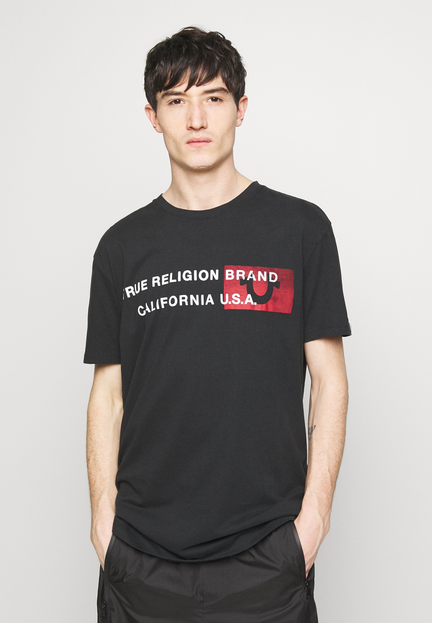 True Religion CREWNECK CALIFORNIA - T-shirt z nadrukiem - black