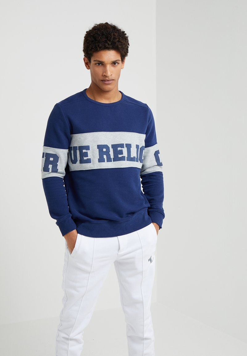 True Religion - CREW CONTRAST - Sweatshirt - rugby blue