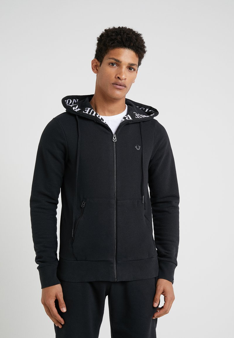 True Religion - HOODED ZIP CONTRAST - Zip-up hoodie - black