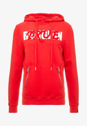 HOODY BASEBALL EMBRO WITH PRINT - Jersey con capucha - red