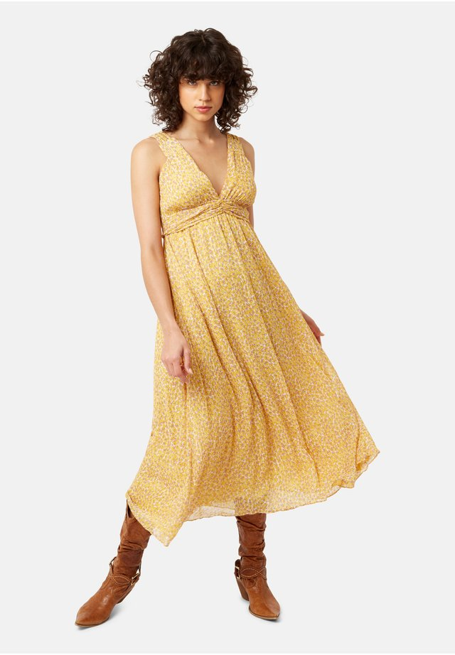 ANIMAL PRINT SLEEVELESS MIDI DRESS - Sukienka letnia - yellow