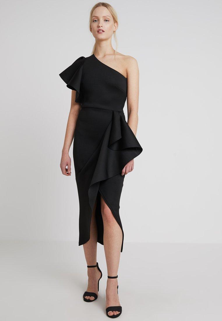 True Violet - TRUE ONE SHOULDER WRAP FRILL DRESS - Occasion wear - black