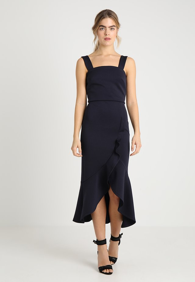 TRUE FRIL HI LOW BODYCON - Maxi-jurk - navy