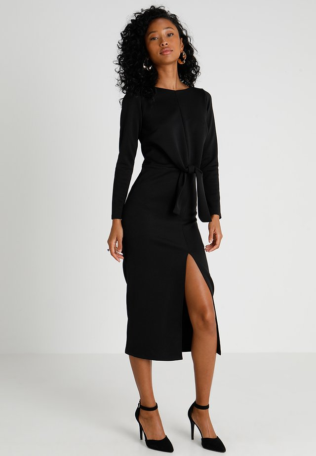TIE FRONT MIDAXI - Shift dress - black