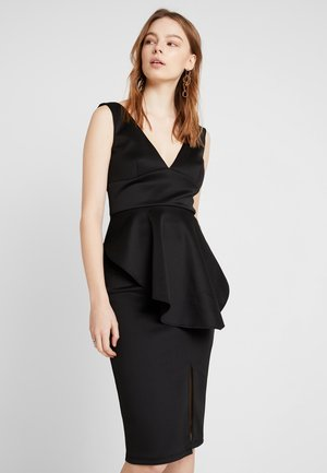 TRUE PLUNGE BODYCON WITH PEPLUM DRESS - Pouzdrové šaty - black