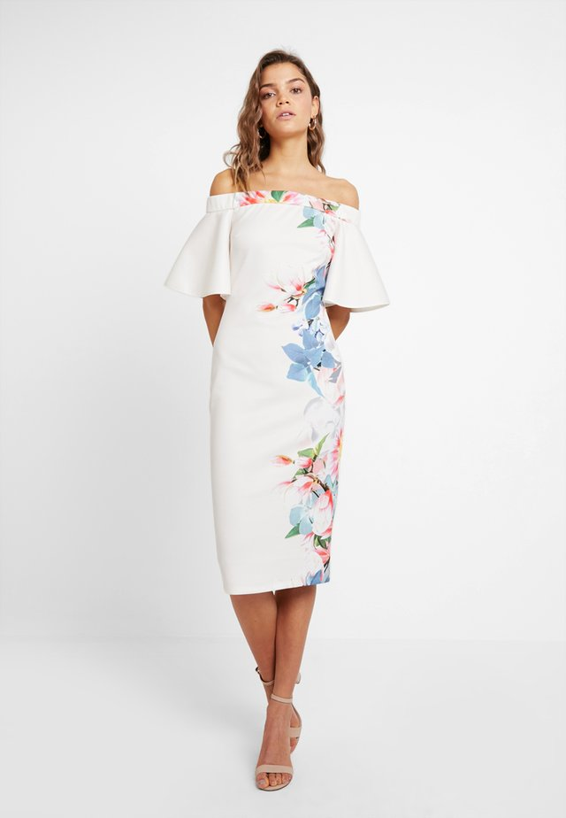 TRUE OFF THE SHOULDER FRILL SLEEVE BODYCON - Juhlamekko - ivory