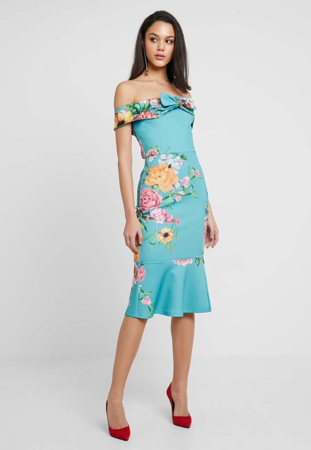 TRUE VIOLET OFF THE SHOULDER PEPLUM DRESS - Etuikjole - mint floral