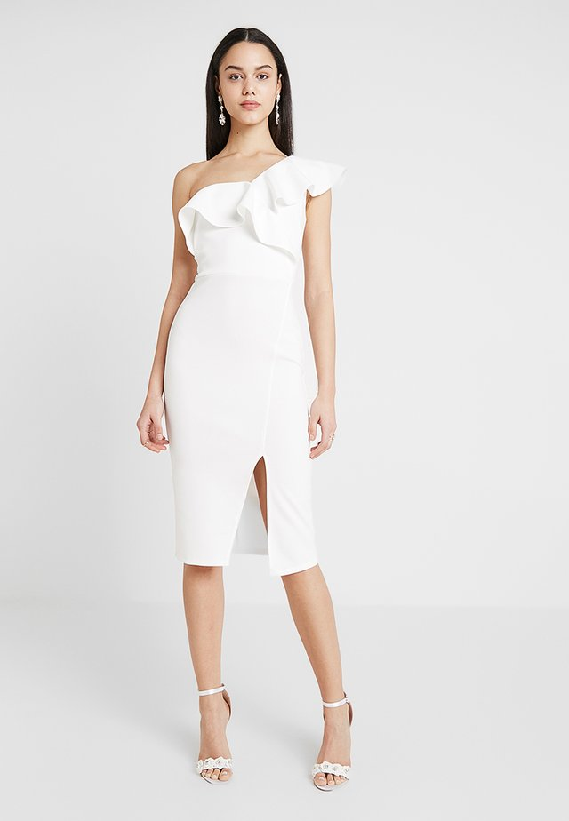 ONE SHOULDER FRILL BODYCON DRESS - Etuikjole - ivory