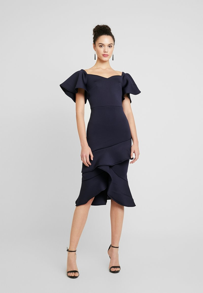 True Violet - OFF THE SHOULDER FRILL BODYCON - Cocktailklänning - navy