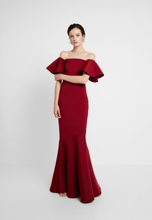 LABEL FRILL SLEEVE BARDOT DRESS WITH FISH - Iltapuku - wine