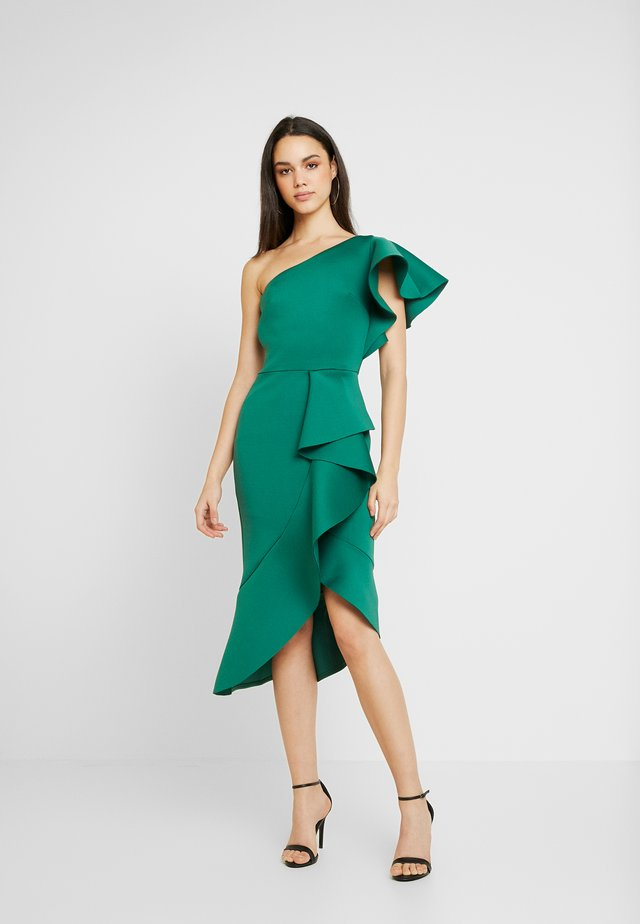 TRUE ONE SHOULDER DRESS WITH FRILL DETAIL - Koktejlové šaty / šaty na párty - green