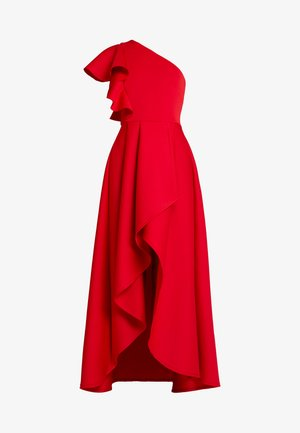 TRUE ONE SHOULDER WRAP VOLUME DRESS - Vestido de fiesta - red
