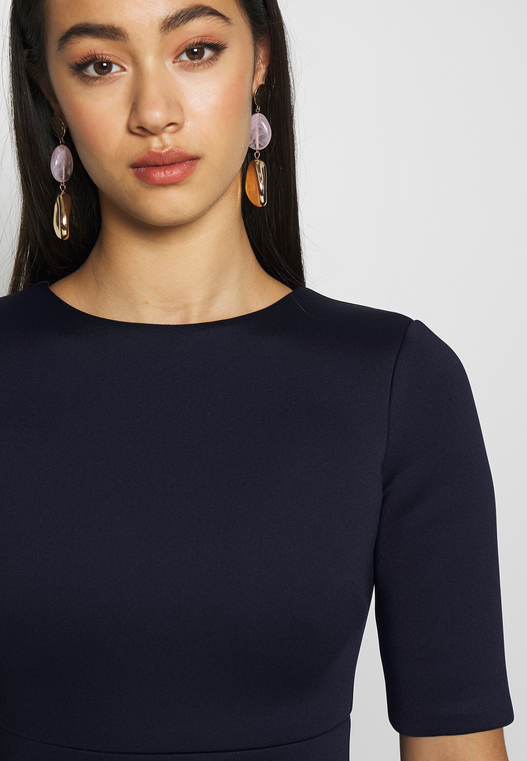 True Violet Short Sleeve Wrap Volume Maxi Dress - Abito Da Sera Navy