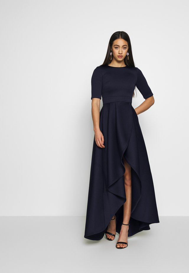 TRUE VIOLET SHORT SLEEVE WRAP VOLUME MAXI DRESS - Iltapuku - navy