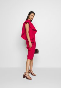 True Violet - TRUE VIOLEY MIDI BODYCON WITH DRAPING SHOULDER FRILL DETAIL - Cocktail dress / Party dress - cherry - 1