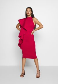 True Violet - TRUE VIOLEY MIDI BODYCON WITH DRAPING SHOULDER FRILL DETAIL - Cocktail dress / Party dress - cherry - 0