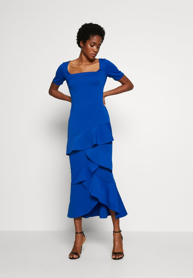 FRILL LAYER DRESS WITH SQUARE NECK - Vestido de fiesta - blue