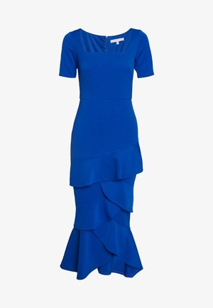 FRILL LAYER DRESS WITH SQUARE NECK - Společenské šaty - blue