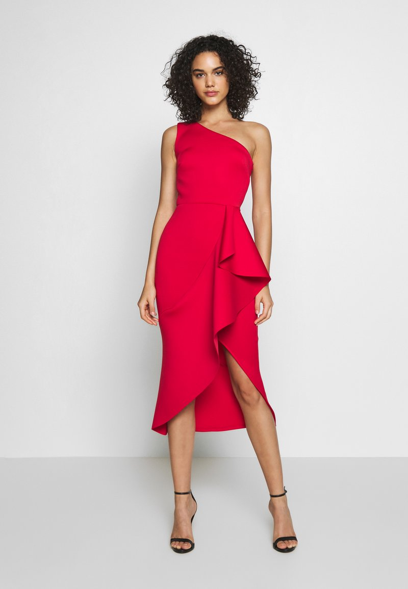 True Violet - ONE SHOULDER MIDI DRESS WITH FRILL WRAP HEM - Ballkjole - red