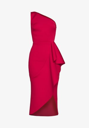 ONE SHOULDER MIDI DRESS WITH FRILL WRAP HEM - Galajurk - red