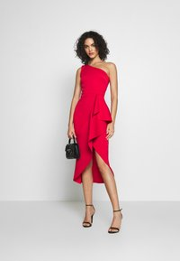 True Violet - ONE SHOULDER MIDI DRESS WITH FRILL WRAP HEM - Ballkjole - red - 1