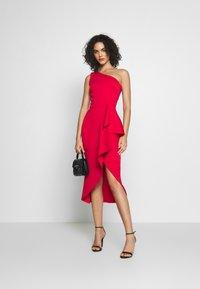 True Violet - ONE SHOULDER MIDI DRESS WITH FRILL WRAP HEM - Occasion wear - red - 1