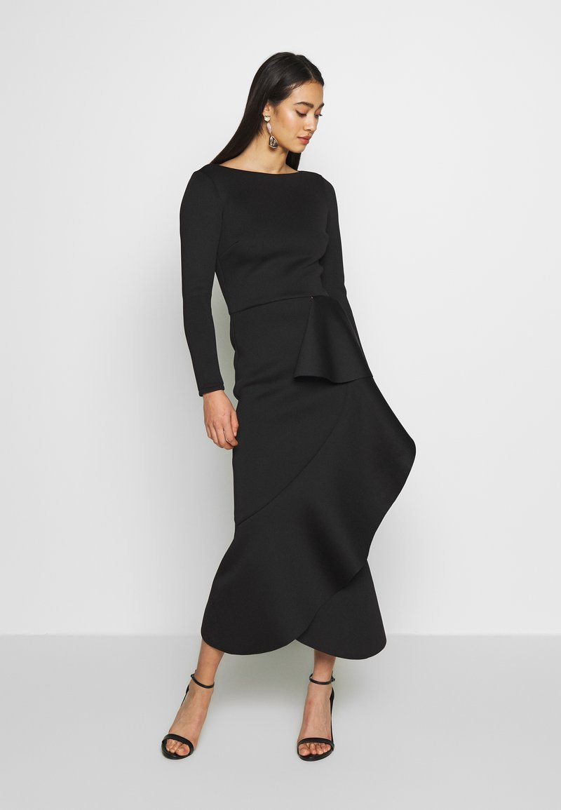True Violet - TRUE LONG SLEEVE FRILL DRESS - Vestido de fiesta - black