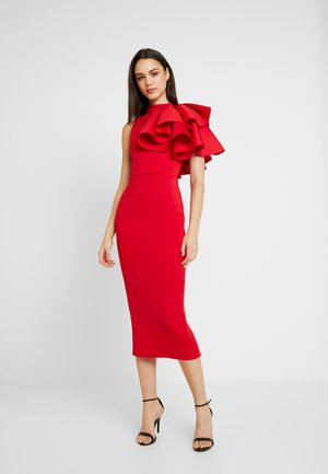 MIDI DRESS WITH EXTREME SHOULDER FRILL - Vestido de cóctel - red