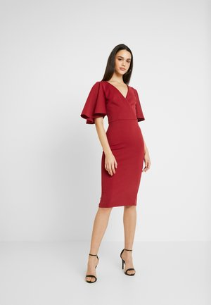 KIMONO SLEEVE MIDI DRESS - Vestido de cóctel - red