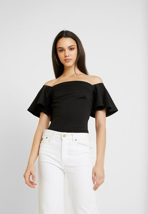 TRUE OFF SHOULDER BODYSUIT - T-shirt z nadrukiem - black