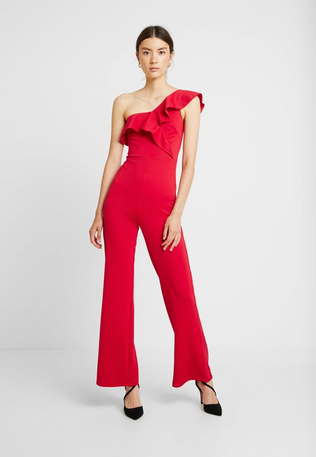 ONE SHOULDER FRILL - Jumpsuit - red