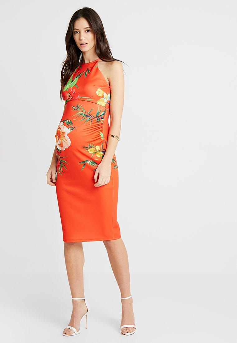 True Violet - HIGH NECK BODYCON DRESS - Etuikleid - orange