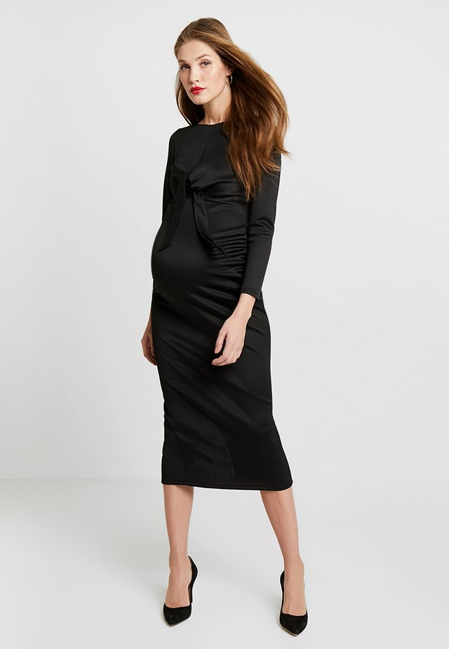 TIE FRONT MIDAXI - Day dress - black