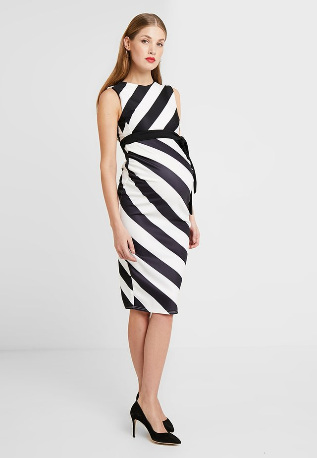CONTRAST TIE MIDI BODYCON - Jersey dress - black/white